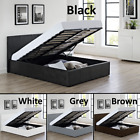 3ft 4ft 4ft6 5ft Ottoman Storage Gas Lift Up Bed Black Brown White + Mattress