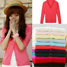 11 Colors Solid Womens Knit Sweater Cardigan Knitwear Knitting Coat Blouse Top