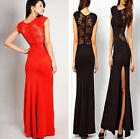 Sexy women Lace Long Bodycon Evening Cocktail Fashion Dress Cut Out Black Red