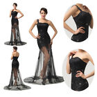 Elegant Black Sexy Lace Bridesmaid Evening Prom Party Gown Homecoming Long Dress