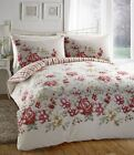 Debbie Floral Red Pink Lemon Cream Duvet Cover Quilt Bedding Set