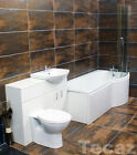 P Shaped Showerbath Bathroom Suite 1050mm Vanity Unit + Tap Option Right Hand