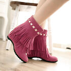 Vintage Cowboy Fringe Tassel Pumps Womens Girls Hidden Heels Rivet Ankle Boots