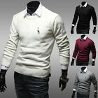 Men's Slim Fit Knitwear Pullover Splicing Knitting Jumper Sweater Tops Size XS~L