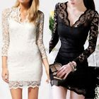 Ladies Womens Lace Floral Maxi Long Sleeve V-neck Bodycon Cocktail Evening Dress