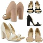 NEW LADIES BLOCK HIGH HEEL SHOES WOMENS PARTY EVENING CLUBBING COURT SANDALS UK