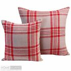 Large Filled Red Tartan Cushion Cover Sofa Bed Cotton Decorative Scatter Cushion