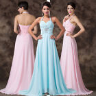 ❤~ Boutique Pinup Long Chiffon Bridesmaid Party Prom Gown Cocktail Evening Dress