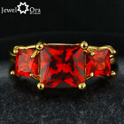 Size 6,7,8 Vintage Hot 18k Gold Plated With Cocktail Ruby For Women Party Ring