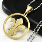 HOT Stainless Steel Gold Tone BOY SCOUT SYMBOL LOGO Round Pendant w Necklace M17