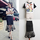 Two-pieces Women dog Printed casual tops blouse sets wave point mesh skirt suit