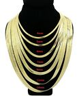 New 14K Gold Plated 4mm - 14mm Flat Herringbone Chain Necklace