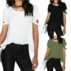New Arrival Summer Women's Sexy Back Cross T-shirt Casual White Blouse Tops