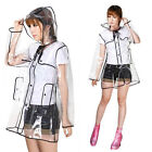 Pvc / Vinyl Ladies Transparent Clear Rain Coat Mac Raincoat Uk Casual Festival