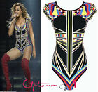 WOMENS LADIES CELEB BEYONCE AZTEC MULTI STRIPE PRINT BUTTON LEOTARD BODYSUIT TOP