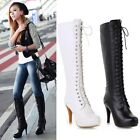 British Vintage Lace Up Military Riding Boots Womens High Heels Knee High Boots