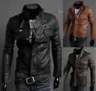 NWT Premium PU Leather Men's Slim Top Designed Sexy Short Jacket Coat 3 Colors