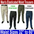 "Mens Elasticated Waist Trousers 32"" to 60"" Waist. New Smart Casual Rugby Trouser"