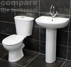Sara Bathroom Suite Cloak Set Two Piece Sink Basin + Toilet + Seat + Tap Option