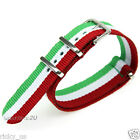 Nylon Stripe Watchband Strap Wristwatch Silver Pin Buckle Italian Flag Colors