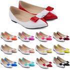 WOMENS FAUX LEATHER PATENT FLATS DOLLY BALLET PUMPS PARTY SHOES UK SIZE 2-9