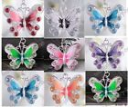 Fashion Butterfly Crystal Pendant Necklace with Silver Plated Charms 7 Colors