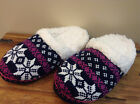 LADIES TOTES TOASTIES NAVY MULE SLIPPER KNITTED PATTERN WARM SOFT LINING BNIB Y4