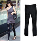 Casual Lady's Black Slim Fit Ripped Punk Skinny Jeans Pants Jeggings Trousers