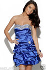 DIAMONTE ROYAL BLUE SATIN PUFFBALL PROM EVENING PARTY COCKTAIL DRESS FAULTY 8-16