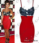 Womens Celeb Style Red Black Lace Party Evening Cocktail Mini Bodycon Dress