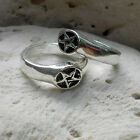 star and inverted pentagram pentacle 2 VERSIONS magic silver pewter occult power
