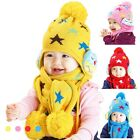 3479 Winter Star Baby Toddler Boy Girl Kids Warm Hat Cap + Scarf 10Month--4Year