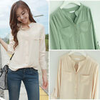 S M L Top Shirt Blouse Spring Summer T-shirt Stand-up Collar Apricot Mint 1036 Z