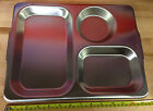 MULTIBUY! Genuine British Army 3 Compartment Stainless Steel Mess Tray 1988 NEW