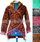 6 colour Fleece HOODED Jacket Wrap CARDIGAN HIPPY Pixie STEAMPUNK  S M L XL 8-20