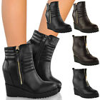 LADIES WOMENS CONCEALED HIDDEN WEDGE MID HIGH HEEL PLATFORM ANKLE BOOTS SHOES