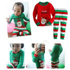 NWT Christmas Santa Reindeer Baby Girls Boys Pajamas Nightwear Suit Outfits Set