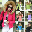 2014 NEW Women Down Cotton Hood Big Faux Fur Collar Short Warm Jacket Coat