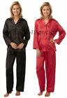 Ladies Satin Pyjamas Pyjama PJ's - Red/Black 2 Pair Pack - 10/12 14/16 18/20