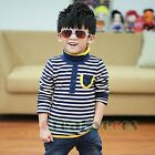 Stylish Korean Kids Toddlers Boys Striped High Neck 100% Cotton Tops T-Shirt New