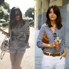 ZARA NEW COLLECTION 2014. WHITE & NAVY CHECKED BLOUSE SHIRT. BLOGGERS. LOOKBOOK.