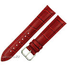 Red Alligator Grain Leather Strap Wristwatch WatchBand Silver Pin Buckle