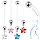 Bio Flex Pregnancy Navel Ring with Star Gem Dangle Belly Button Rings 14G