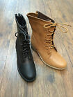 Women Combat Boots Mid-Calf Lace-Up Boots Black Brown Color Alice-12 NEW