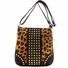 Leopard Cheetah Print Rhinestone Stud Crossbody Bag Messenger Brown+4Colors