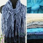 Stylish Cute Pom-pom Crinkle Soft comfy Long Scarf Shawl Tassel Wrap Soild Color