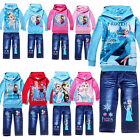 Frozen Elsa Anna Girls Boys Hoodies Tops Shirt Kids Clothing Jeans Toddler 2-8Y