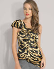 New KAREN MILLEN Silk Satin Corset Top Black & Gold One Shoulder Fitted Blouse 6