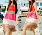 Womens Girls Colourful Pleated Chiffon Sun Dress Beach Cover Up AU SELLER dr095