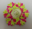 Crochet Stitch Hand Dyed Thread Applique Funky Flowers Bright Embellishments